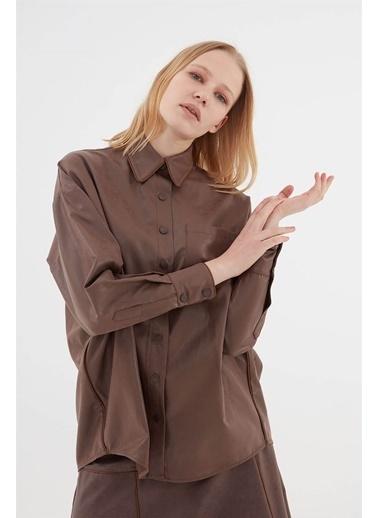 Vivencia Suni Deri Kadın Gömlek  Vizon